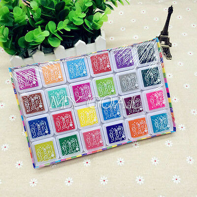 New 24 Color Rubber Stamps Ink Pad for Paper Wood Fabric Wedding Finger Print
