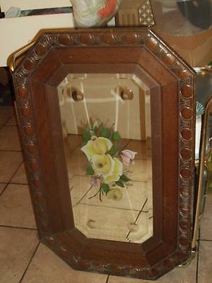 Large Antique Bevelled Edge Painted Engraved Wall Mirror Solid Carved Oak Frame