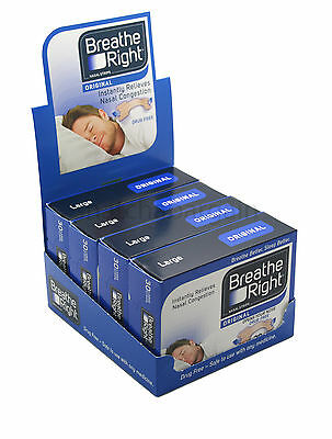 4x BREATHE RIGHT DRUG-FREE NASAL STRIPS 30 LARGE STOP SNORING & GOOD FOR SPORTS