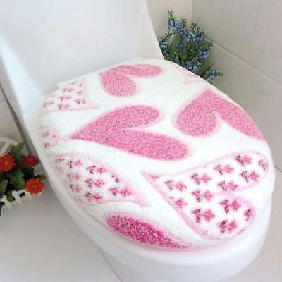 1Set Mat+Lid Cover Bathroom Warmer Toilet Closestool Washable Seat Cover Pad 2PC