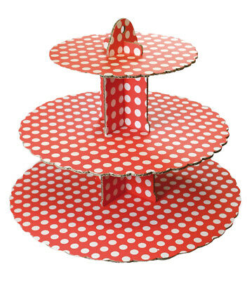 Culpitt SPOT RED 3 Tier Cupcake Cake Stand Display Birhtday Party Decoration