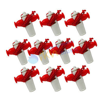 NEW Pack of 10pcs Plastic Red White Color Tri-Tone Samba Whistle