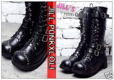 Punk 15-Hole Buckle Strap Studs Boots 7.5/8 BLACK 38 2048
