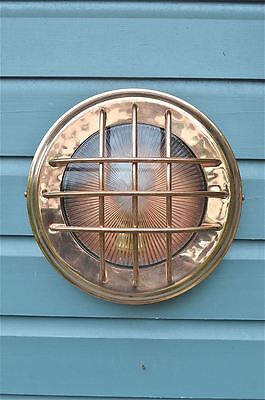 Cool vintage style copper Dreadnought bulkhead wall light caged ship lamp