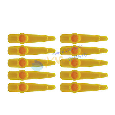 NEW 10pcs Wind Instrument Plastic Kazoo Yellow Color
