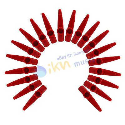 NEW 20pcs Red Color Kazoo Plastic Red Wind Instrument Kazoos