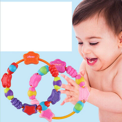 1pc Baby infant soft bite teething bracelet ring chewing gum teether toy