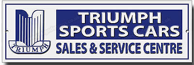 Triumph Sports Cars Sales & Service Centre Metal Sign.garage Sign.classic Cars.