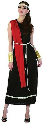 Ladies Sexy Black Toga Roman Goddess Greek Fancy Dress Costume Outfit 10-12-14