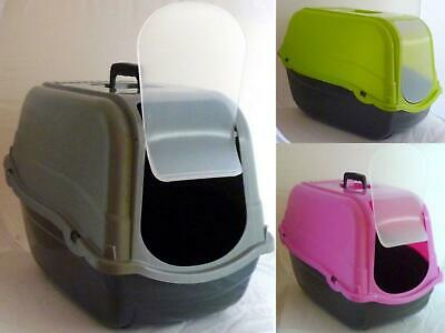 Pet Toilet Litter Tray Carry Handle Easy Clean Large Lightweight Green Pink Grey