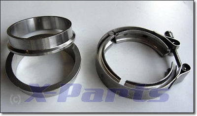 "V-Band Schelle SET mit FLANSCH 76mm 3"" Turbo Wastegate Auspuff Turbolader"