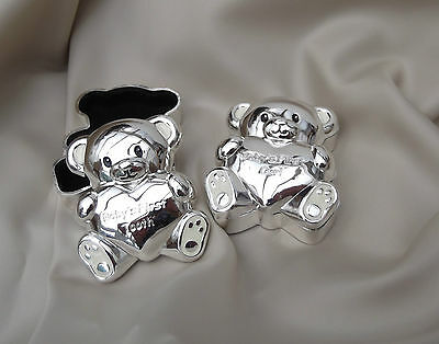 Silver Plated Baby Tooth And Curl Boxes  Teddy Bear