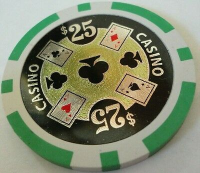 11.5 gm Laser ACE CASINO roll of 25 poker chips- Green $25