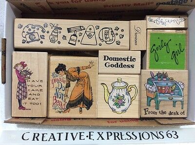 Lot Of 9 Girly Themed Wood Mounted Rubber Stamps ExCondition