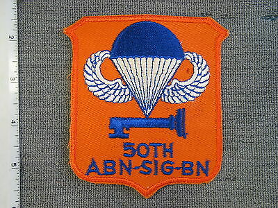 Large 1950's US Army 50th Airborne Signal Battalion patch from NS Myers Library