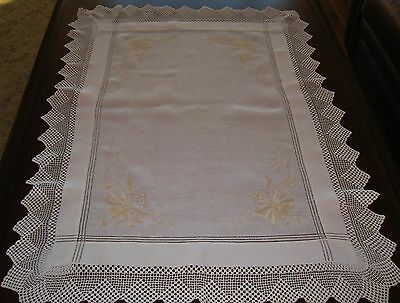 EARLY EXQUISITE ENGLISH FILET CROCHET& SILK EMBOIDERED SUPPER CLOTH~ ExCondition