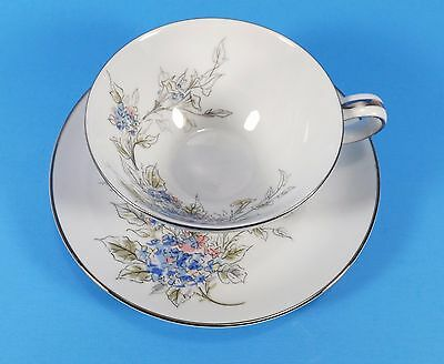 Noritake 5682 Cup & Saucer Set Platinum Blue Floral W/Pink Accents-4 Available
