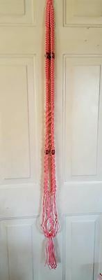 """Handcrafted by ME Macrame Plant Hanger Pink with Wood Beads 52"""" Planter"""