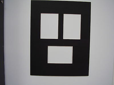 Picture Frame Mat 8x10 for 3 aceo cards Black mat