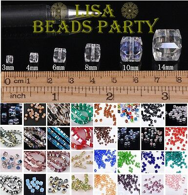 Wholesale Faceted Cube Crystal Glass Loose Spacer Beads 3/4/6/8/10/14mm Bulk