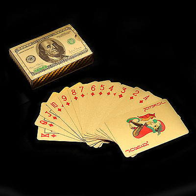 New Plastic Gold Plated Poker Playing Cards 54 Pieces With US 100 Dollars Design