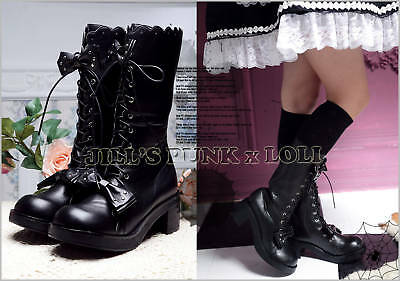 Punk Lolita baby doll 11-Hole Bows Stud Heel Boots 8.5/9 BLACK 40 2068
