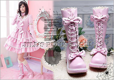 Punk Lolita baby doll 11-Hole Bows Studs Heel Boots 6/6.5 PINK 35 2068