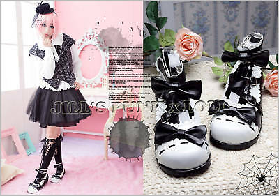 Lolita Baby Doll KERA Bow Scalloped 6.5//7 Heel shoes 37 all black【JH2506BK】
