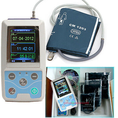 US 24 hours Ambulatory BP Monitor Holter ABPM + free 3 Cuffs W7 W8 PC Software+