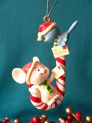 Carlton Cards Ornament 1990 HOLIDAY FRIENDS Mouse Bluebird on Candycane HTF