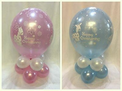 Happy Christening - Party Balloon Table Decoration Display Kit - Boy & Girl