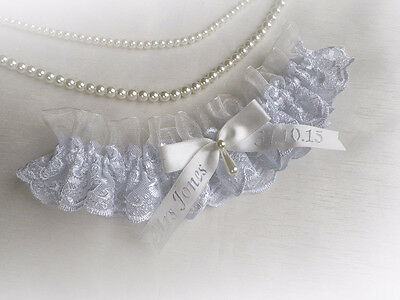 PALE BLUE LACE IVORY or WHITE ORGANZA WEDDING BRIDAL PERSONALIZED GARTER VINTAGE