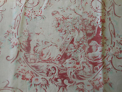 Antique French Softened Pastoral Cotton Toile Fabric ~ Boy Girl Sheep Scroll