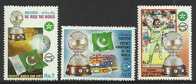 PAKISTAN 1992 CRICKET WORLD CUP IMRAN KHAN FLAGS Set of 3 MNH