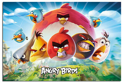 Angry Birds Key Art Film Poster New - Maxi Size 36 x 24 Inch