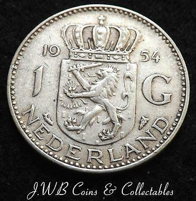 1954 Netherlands Silver 1 One Gulden Coin