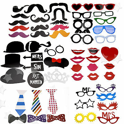 58-in-1 DIY Photo Booth Props Ties Bows Weddings Christmas Birthday Party