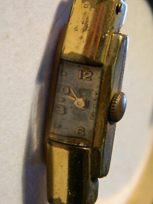 Watch PLAQUE OR G micron MONTRE vintage uhr LADY femme GOLD bijoux BRACELET old