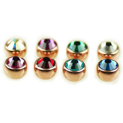 1,6mm Rose gold Piercing Screw Ball in 3mm with a large faceted Kristall
