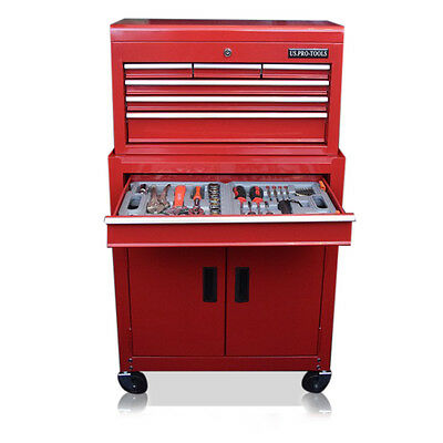 352 Us Pro Tools Affordable Tool Chest Box Roller Cabinet With Tools In Trays !