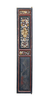 Chinese Gold Red Green Carving Wood Tall Panel cs1564