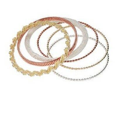 2770JE Bracelet Mix Set, Bangle, Gold Silver Copper plated Steel , 6 Qty