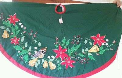 """BRAND New 60"""" House of Hatten D Calla Embroidered Partridge Christmas Tree Skirt"""
