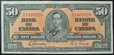 BANK OF CANADA 1937 $50 BANK NOTE - Prefix B/H - Signed Gordon & Towers