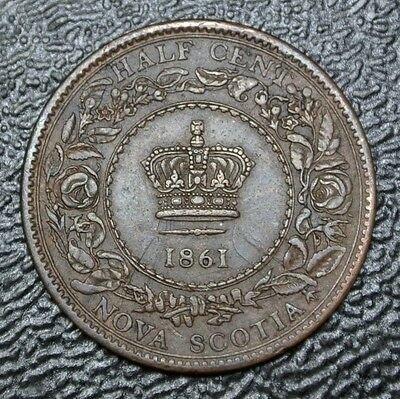 OLD CANADIAN COIN 1861 NOVA SCOTIA HALF CENT - Victoria - Nice HIGH GRADE