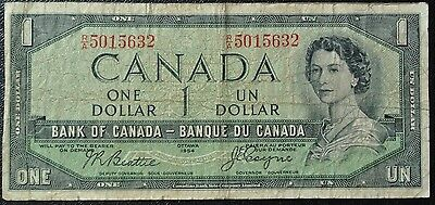 BANK OF CANADA 1954 $1 DEVIL'S FACE NOTE - Prefix R/A - Signed Beattie & Coyne