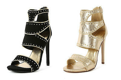 Womens Studded Stilletto Cut Out High Heel Faux Leather Open Toe Strappy Fashion
