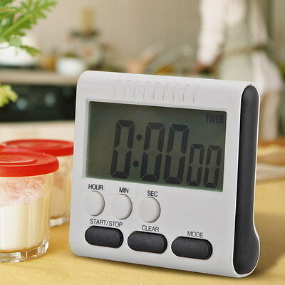 Large LCD Digital Kitchen Cooking Timer CountDown 24H Second Clock Loud Alarm