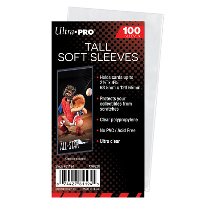 (1000) Ultra Pro Tall Soft Card Sleeves Widevision / Gameday / Extra Tall Cards