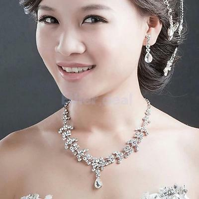 Hochzeit Braut Kristall Strass collier Halskette+Ohrring Party Schmuck Set